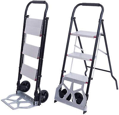 330lb 2-in-1 3-step Ladder Dolly Hand Truck Trolley Cart Folding W Two Wheels