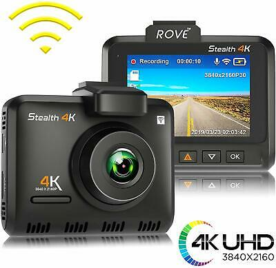 Rove Stealth 4K Car Dash Cam - 4K Ultra HD - Built-In WiFi & GPS, Parking Mode