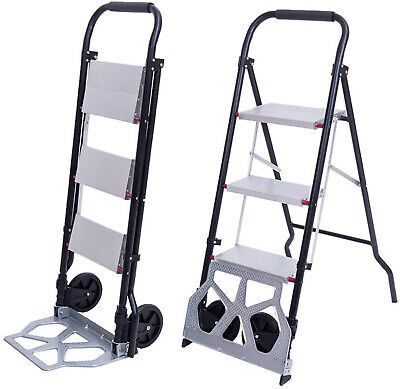 2in1 Practical 3-Step Ladder and Hand Truck Trolley Cart Fol