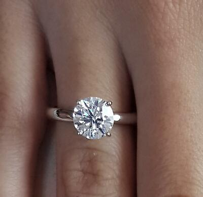 0.75 Ct Classic 4 Prong Round Cut Diamond Engagement Ring I1 E White Gold 14k 14k White Gold Classic Prong