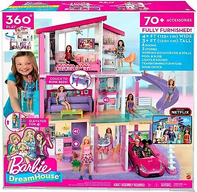 Barbie Dreamhouse Dollhouse with Wheelchair Accessible Elevator, Pool...