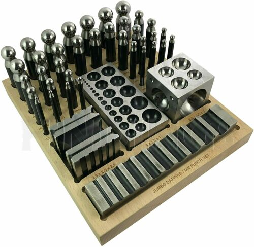JEWELLERS TOOL 40 PCs JUMBO DOMING BLOCK & PUNCH SET MADE OF STEEL DAPPING DIE