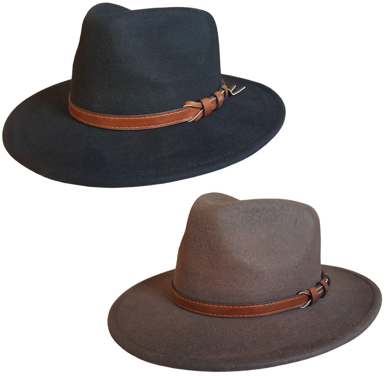 Fedora chapeau pour hommes ou femmes en 100% laine feutre / cowboy noir marron