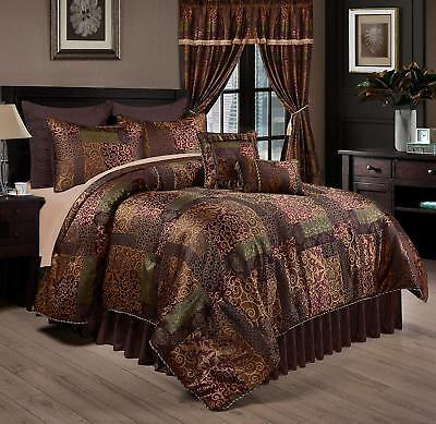 Deluxe Silky Brown Gold Jacquard Floral 9 pc Cal King Queen Comforter or (Jacquard Floral Comforter)