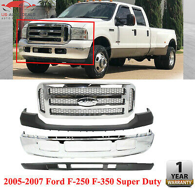 Front Bumper Chrome + Grille + Upper & Low Cover For 2005 - 2007 Ford F250 F350