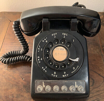 Bell Systems Western Electric Rotary Multi Line Phone 566 FB 50's Black