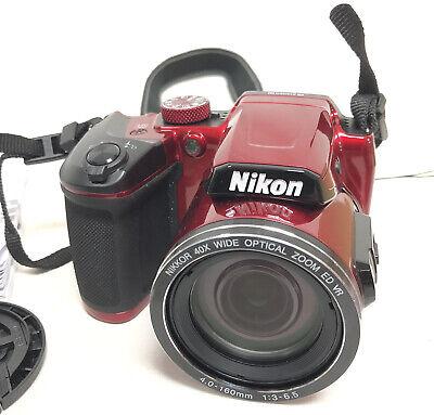 Nikon Coolpix B500 Red Digital Camera 16.0 Megapixels 40x Zoom Tested Open Box