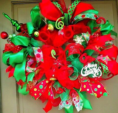 Christmas Deco Mesh Wreath with Lights & Ornaments 24