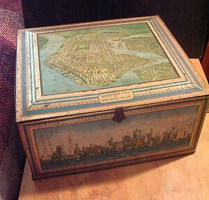 Large Vintage Tin Box Manhattan New York City Scenes Landmarks c1930 Aqua Colors