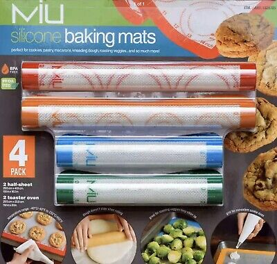 MIU 4-pack Silicone Baking Mats~Oven, Microwave, Freezer Safe from -40℉ to 450F ()