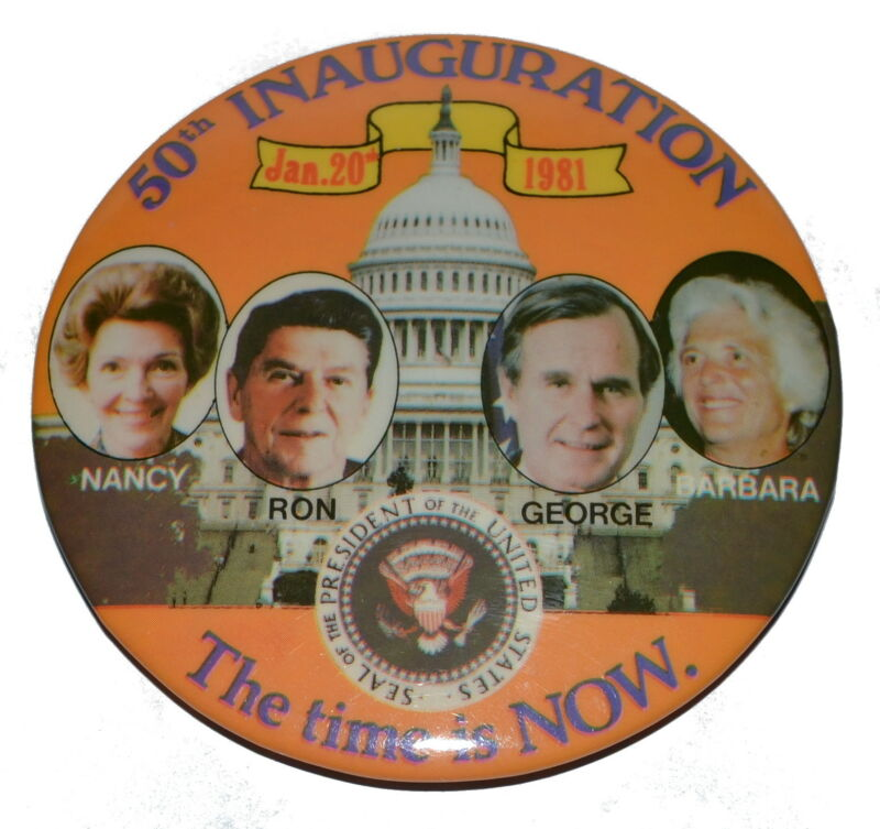 1981 Ronald Reagan 50th Inauguration Pinback Button 1
