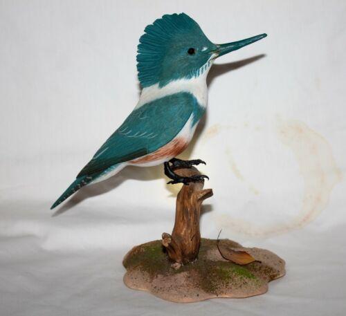 "Hand Carved 9"" Kingfisher Birdhug Studios"