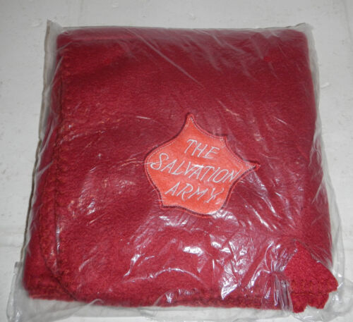NIP Sealed Salvation Army Red Maroon Fleece Blanket with Embroidered Logo