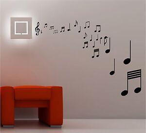 Vinilo Mural Decorativo Notas Musicales Dormitorio Sala