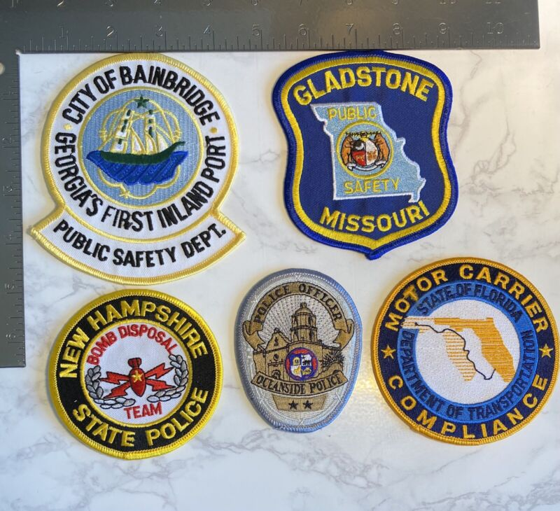 SET OF 5 USA POLICE AND PUBLIC SAFETY PATCHES
