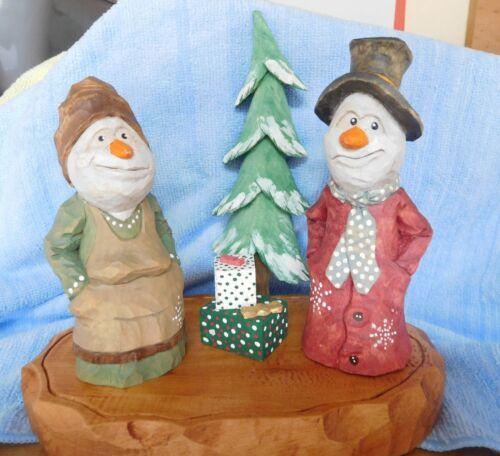 Christmas Snowman scene - Basswood blanks, Red Cedar base - woodcarving - wood