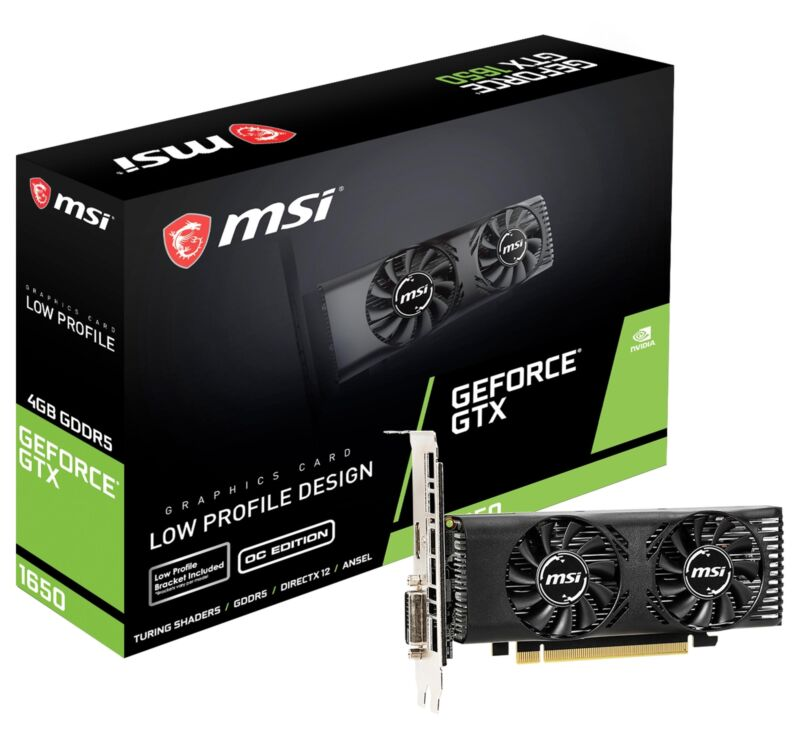 MSI GeForce GTX 1650 4GT LP OC Graphics Card, PCI-E x16, No SLI, Low Profile