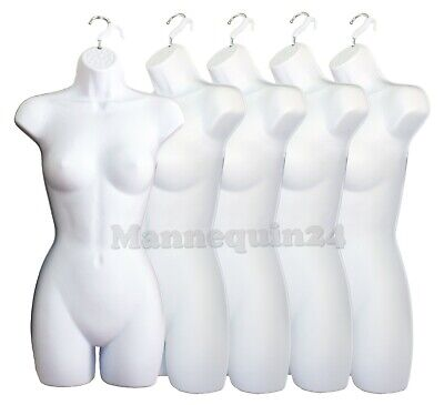 5 Pack Mannequin Torso Body Dress Form White Female Plastic Hanging Forms