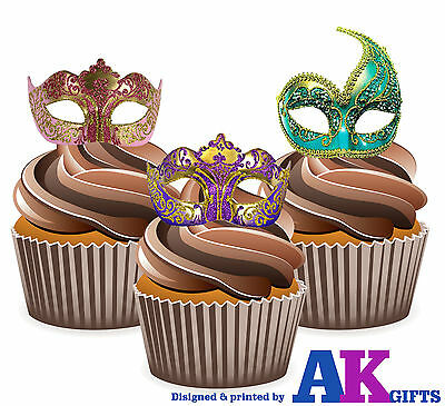 PRECUT Masquerade Ball Vintage Masks 12 Edible Cupcake Topper Party Decorations