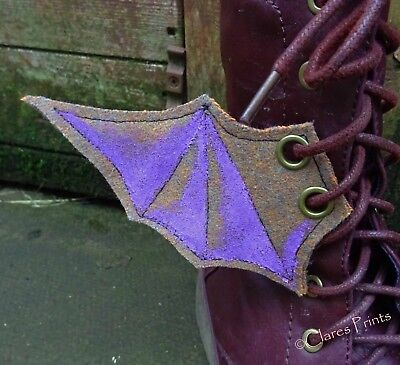 Steampunk Boot Wings Fabric Bat Goth Shoe Accessory Eyelets Brown Lilac Cosplay](Brown Bat Costume)