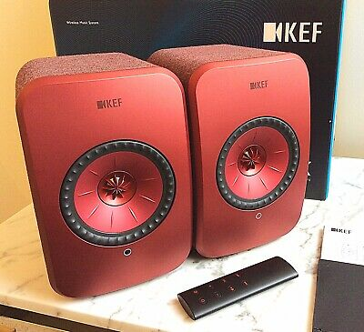 KEF LSX Wireless AirPlay Bluetooth Stereo Speakers In Red, Boxed