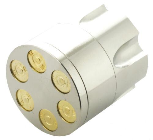 "1.6"" Silver Aluminum Revolver Bullet Tobacco Spice Herb Mill Grinder 031"