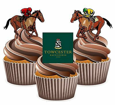 Horse Racing Towcester Racecourse - 12 Edible Cup Cake Toppers Cake - Horse Racing Cake Decorations