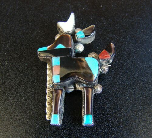 Vintage Silver Zuni Deer Pin/Pendant-Signed Julalita Lamy