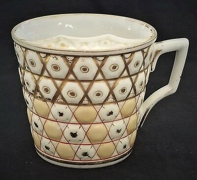 (Mustache CUP, porcelain, Germany, gilt, hexagon rows, c1880, 3.5