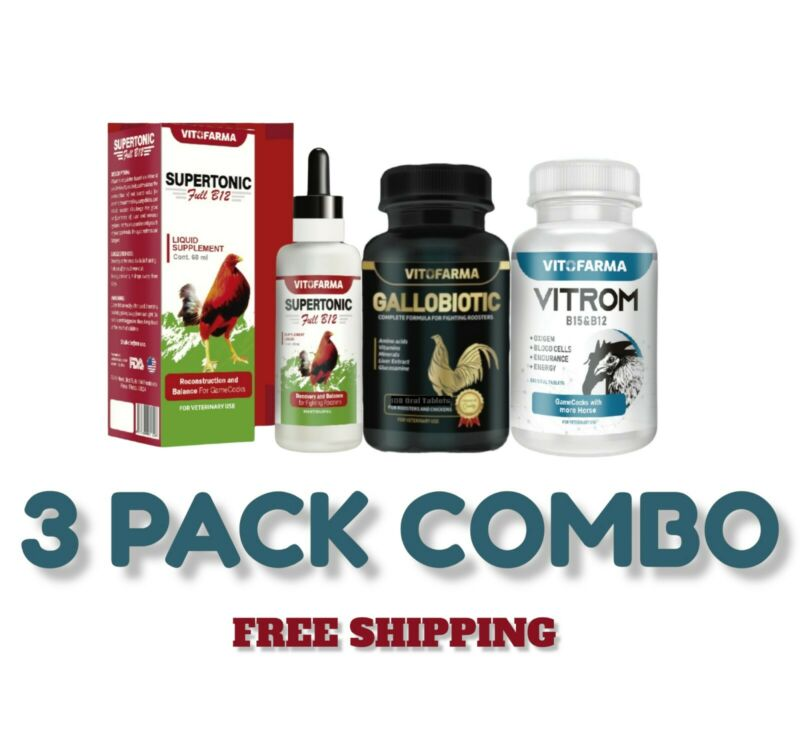 COMBO TRIO GALLOS/ ROOSTERS SUPERTONIC, GALLOBIOTIC AND B15 & B12