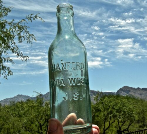 "ca 1910 HANFORD, CALIFORNIA (KINGS CO) ""HANFORD SODA WORKS"" ANTIQUE SODA BOTTLE"