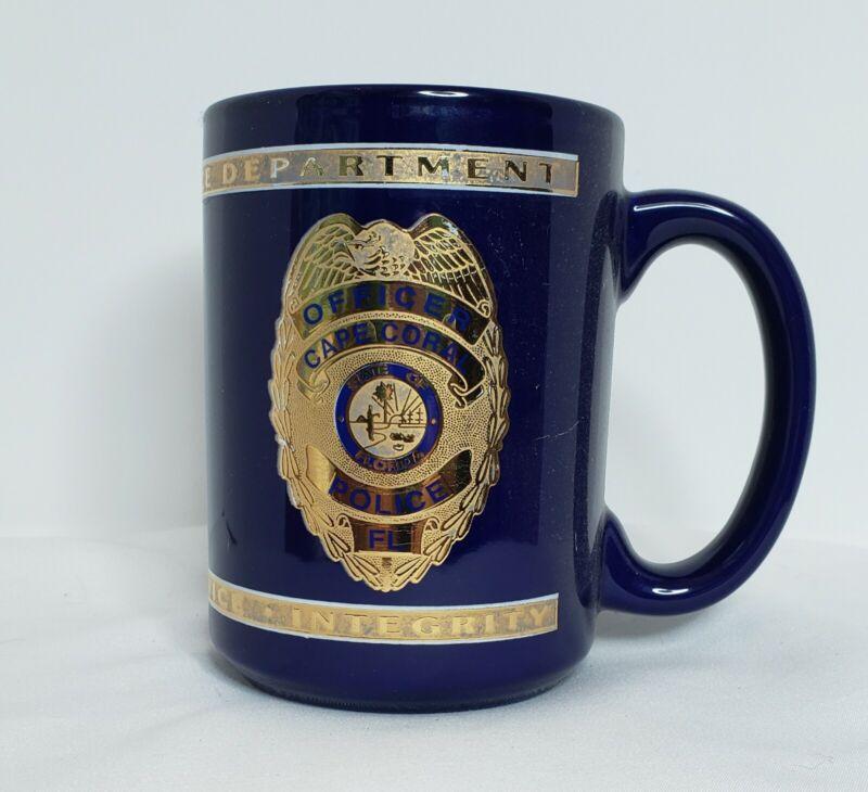 Ceramic Blue & Gold Trimmed Cape Coral Florida Police Badge Memorabilia Mug VGUC