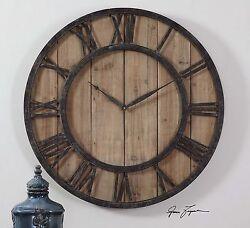 Distressed Wood Round Wall Clock | Cottage Black Iron Vintage