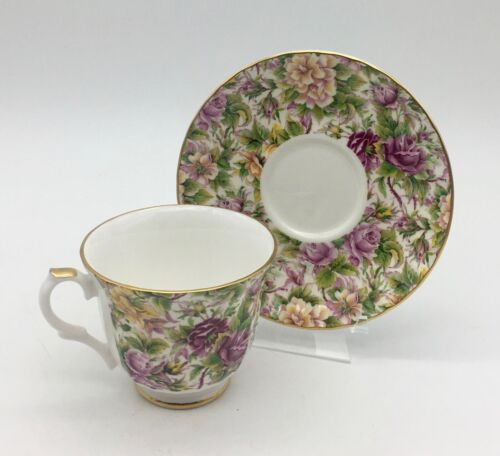 Chintz CUP AND SAUCER, Royal Cuthbertson, Made in ENGLAND, Mint