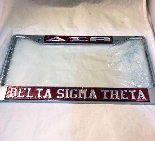 Delta Sigma Theta Three Greek Letter License Plate Frame- Crimson/Silver-New!