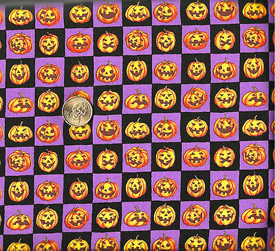 Halloween Smiley & Scary Face Pumpkins on Checked Cotton Fabric 41