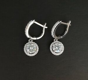 Women 925 Sterling Silver White Diamond Halo Drop Dangle Leverback Earrings