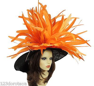 Black Orange Large Ascot Hat for Weddings, Ascot, Derby HC1