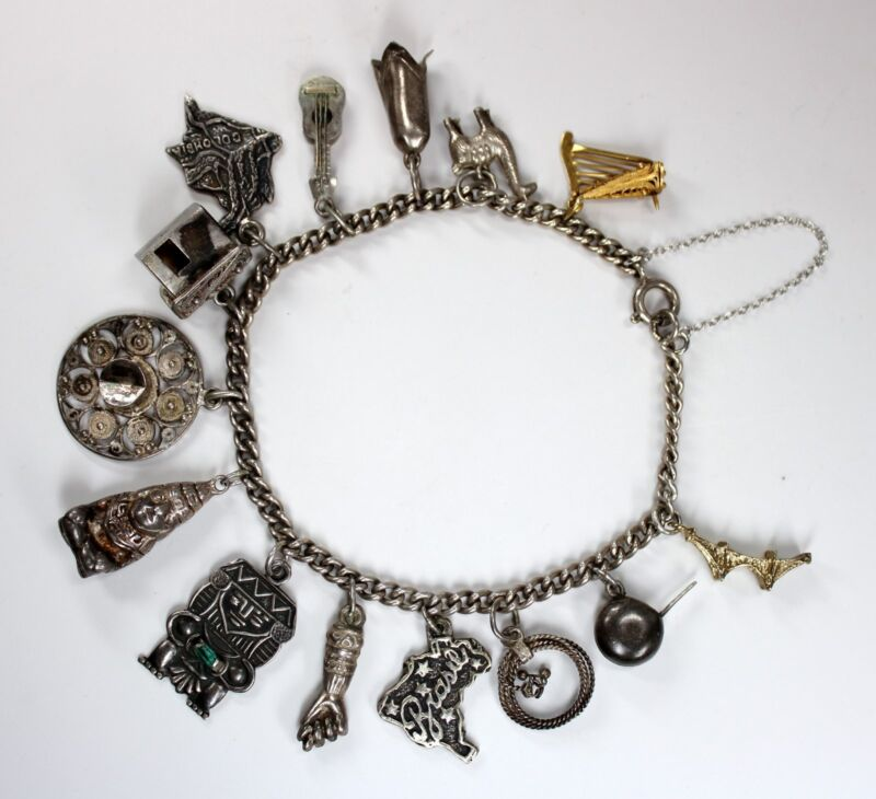 Vintage Sterling Silver + 18K Gold Charm Bracelet South America Theme w Emerald