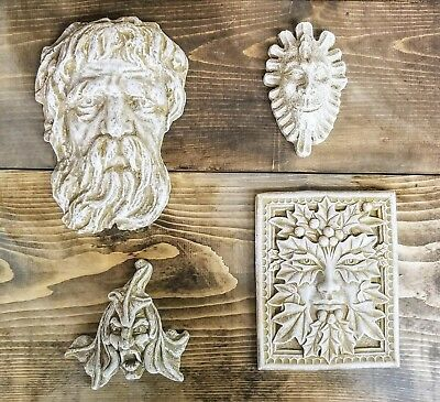 Lot of 4 Green Man Leaf Face Home Garden Wall Plaque Decor Clearance Lot 6