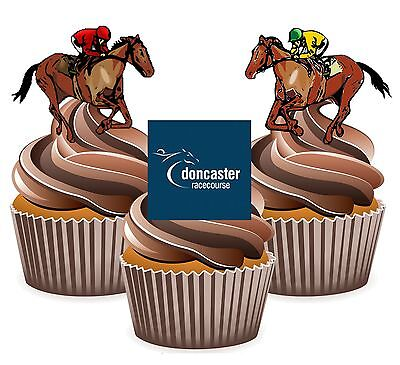 Horse Racing Doncaster Racecourse - 12 Edible Cup Cake Toppers Cake - Horse Racing Cake Decorations