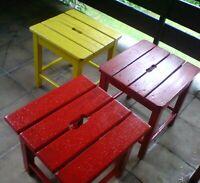 3 Vintage Shabby Chic Hocker Stühle Stuhl rot gelb alt Art Decor Saarland - St. Ingbert Vorschau