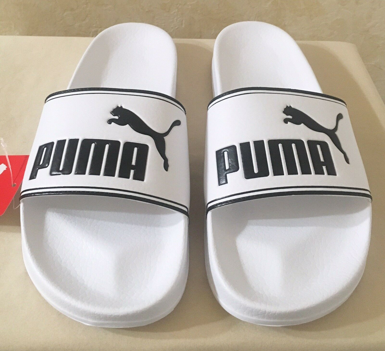 men leadcat white and black sandals slippers