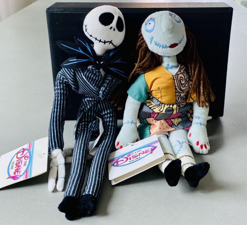 2000 Nightmare Before Christmas Jack Skellington And Sally Plush Dolls Disney