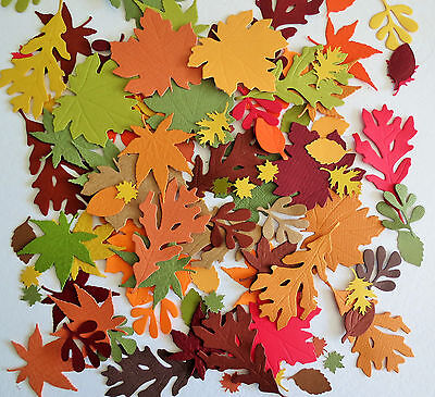 Fall Autumn Leaves Punch Paper Die Cut Set of 100 Scrapbook Embellishment