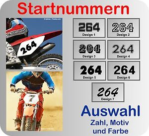 3x Startnummer Wunschnummer Aufkleber Motocross, MX, Enduro viele Farben Design