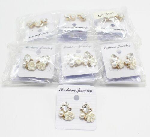 Wholesale Dozen Rhinestone Flower Post Back Earrings #MC35155-12