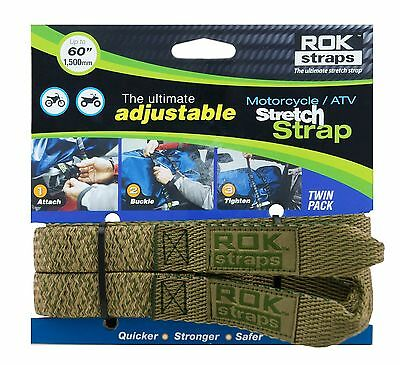 """ROK STRAPS Motorcycle Adjustable Luggage Bungee Straps - 18""""- 60"""" Twin Pack"""