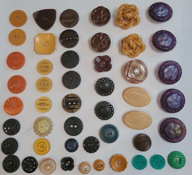 Antique Vtg Estate Buttons Plastics ~  Bakelite ~ Celluloid ~ Plastic 50 BUTTONS