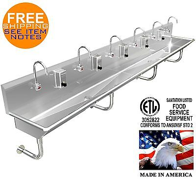 Hand Sink Stainless Steel 6 Users 13211 Wash Up Hands Free 2 Drains 2 Npt